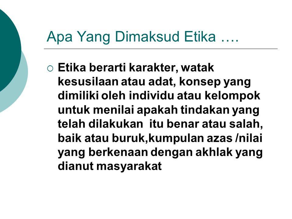Apa Yang Dimaksud Etika ….