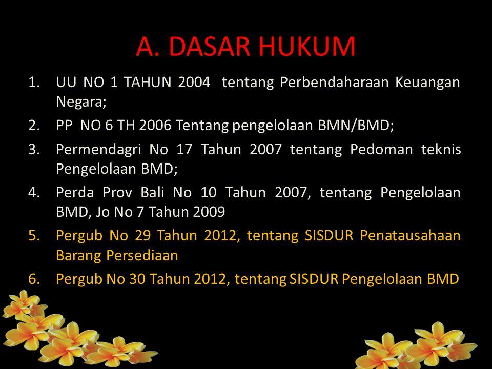 A. DASAR HUKUM UU NO 1 TAHUN 2004 tentang Perbendaharaan Keuangan Negara; PP NO 6 TH 2006 Tentang pengelolaan BMN/BMD;