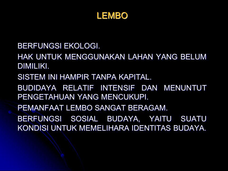 LEMBO BERFUNGSI EKOLOGI.