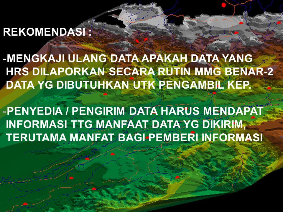 REKOMENDASI : MENGKAJI ULANG DATA APAKAH DATA YANG. HRS DILAPORKAN SECARA RUTIN MMG BENAR-2. DATA YG DIBUTUHKAN UTK PENGAMBIL KEP.