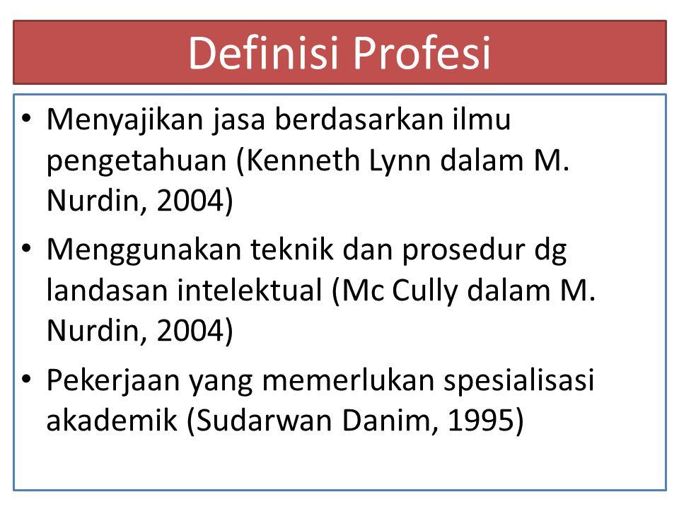 Definisi Profesi Menyajikan jasa berdasarkan ilmu pengetahuan (Kenneth Lynn dalam M. Nurdin, 2004)