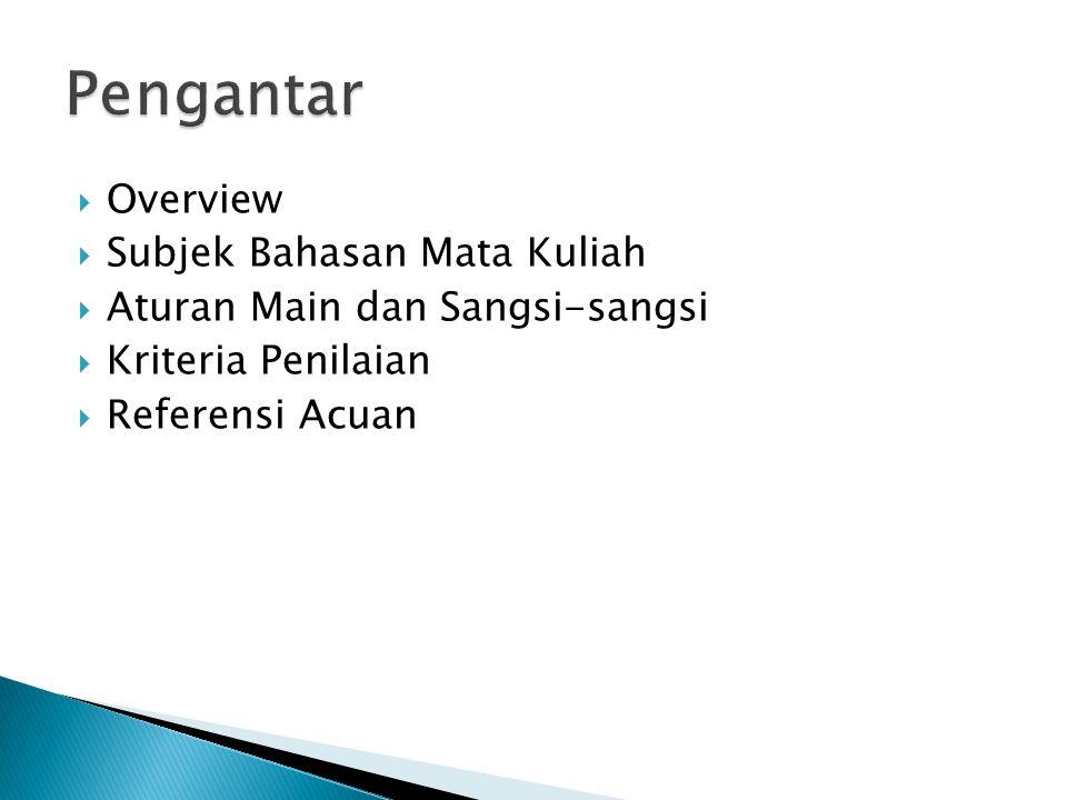 Pengantar Overview Subjek Bahasan Mata Kuliah