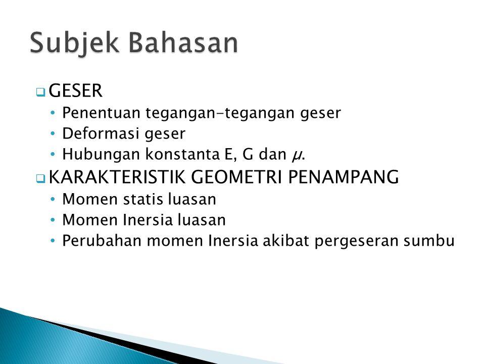 Subjek Bahasan GESER KARAKTERISTIK GEOMETRI PENAMPANG