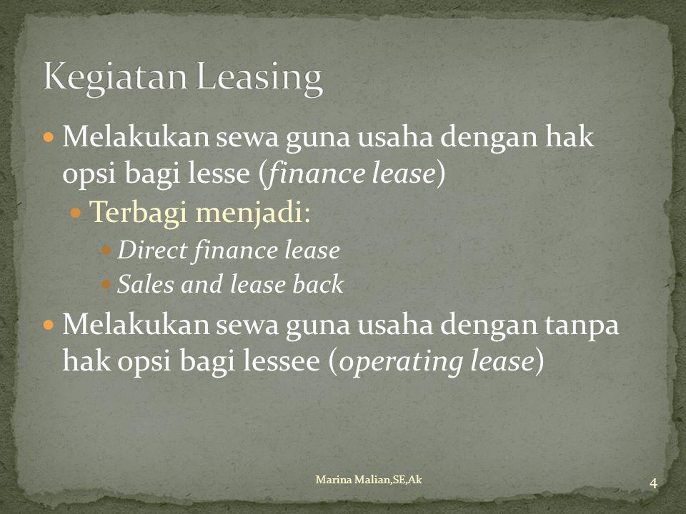 Kegiatan Leasing Melakukan sewa guna usaha dengan hak opsi bagi lesse (finance lease) Terbagi menjadi: