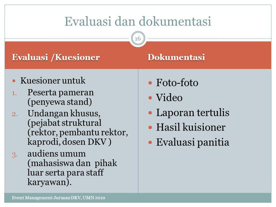 Evaluasi dan dokumentasi