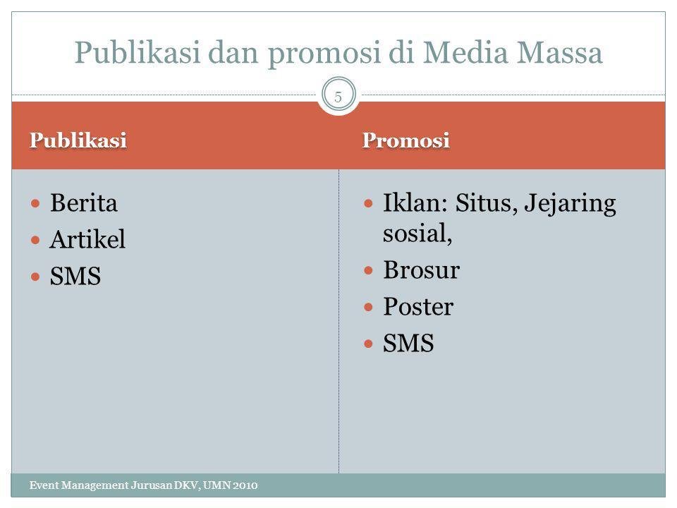 Publikasi dan promosi di Media Massa