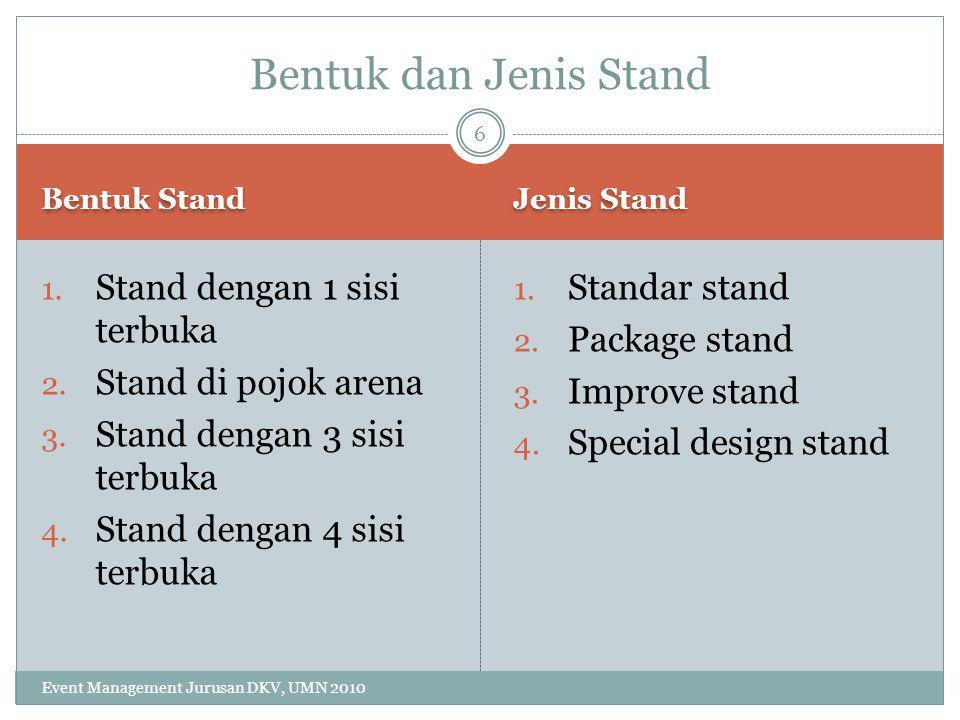 Bentuk dan Jenis Stand Stand dengan 1 sisi terbuka