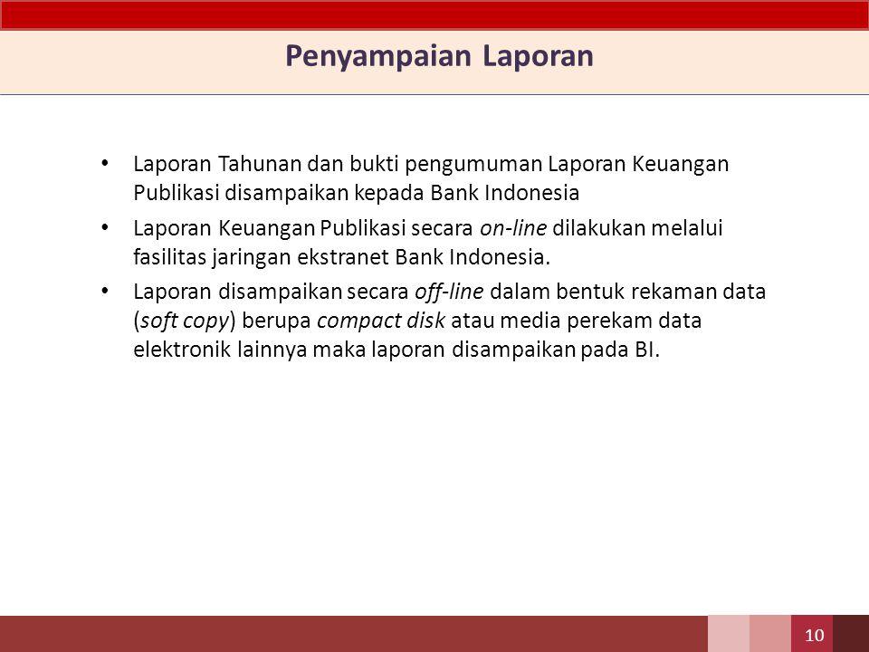 Penyampaian Laporan Laporan Tahunan dan bukti pengumuman Laporan Keuangan Publikasi disampaikan kepada Bank Indonesia.