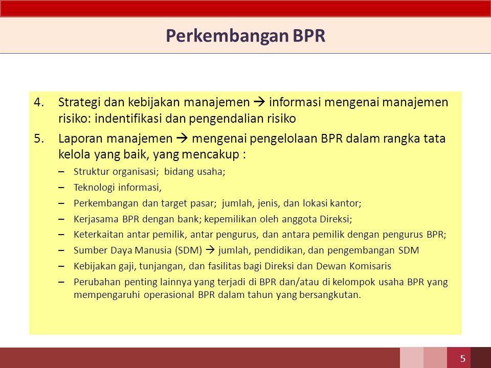 Perkembangan BPR Strategi dan kebijakan manajemen  informasi mengenai manajemen risiko: indentifikasi dan pengendalian risiko.
