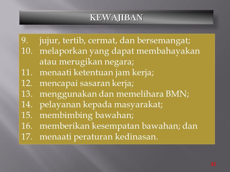 9. jujur, tertib, cermat, dan bersemangat;