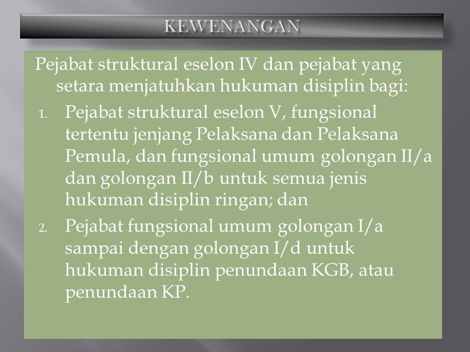 KEWENANGAN Pejabat struktural eselon IV dan pejabat yang setara menjatuhkan hukuman disiplin bagi: