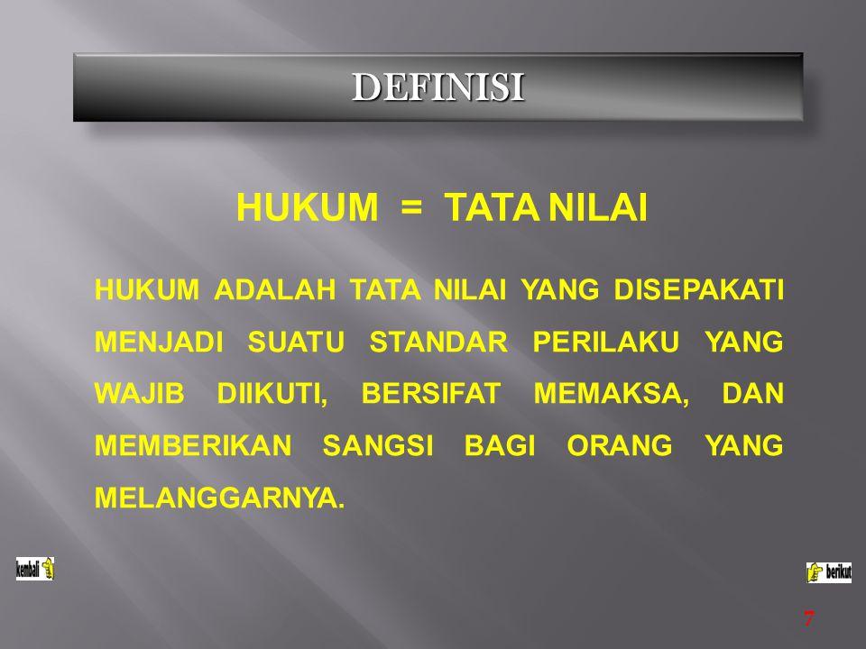 DEFINISI HUKUM = TATA NILAI