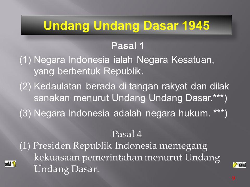 Undang Undang Dasar 1945 Pasal 1