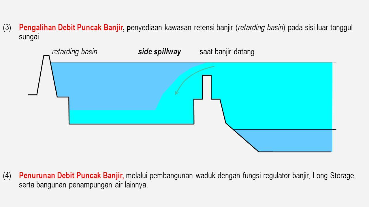 (3). Pengalihan Debit Puncak Banjir, penyediaan kawasan retensi banjir (retarding basin) pada sisi luar tanggul sungai