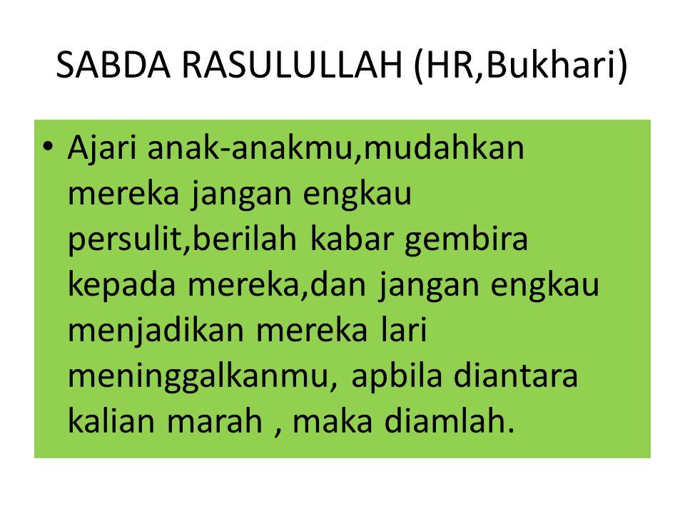 SABDA RASULULLAH (HR,Bukhari)