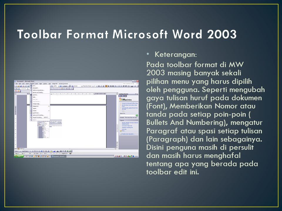 Toolbar Format Microsoft Word 2003