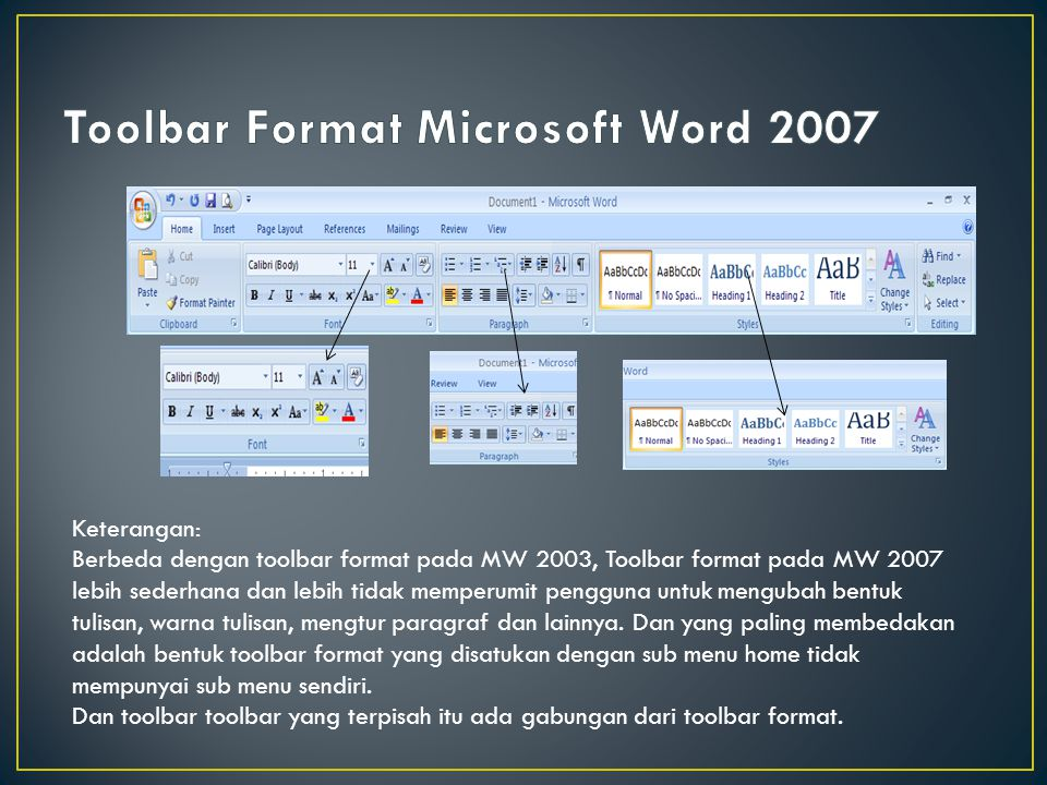 Toolbar Format Microsoft Word 2007