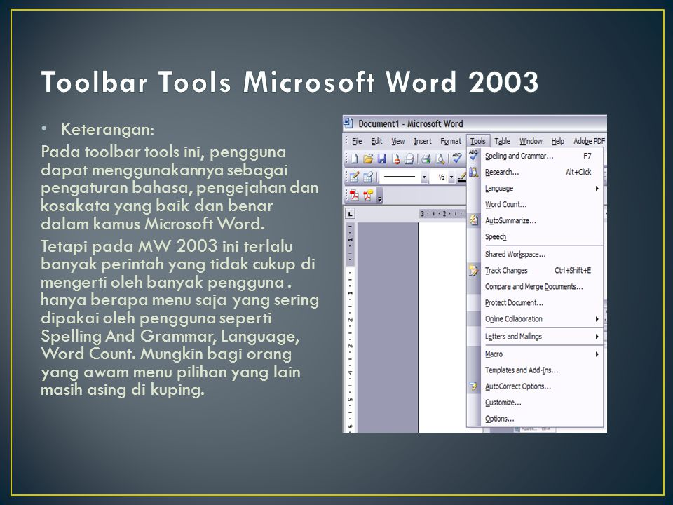 Toolbar Tools Microsoft Word 2003