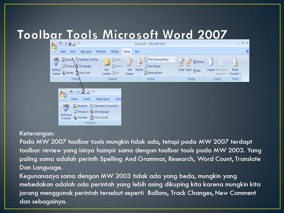 Toolbar Tools Microsoft Word 2007