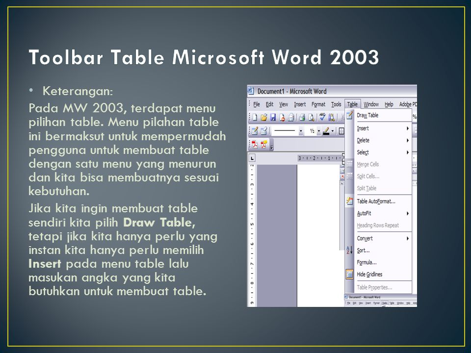 Toolbar Table Microsoft Word 2003