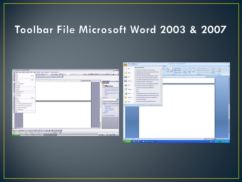 Toolbar File Microsoft Word 2003 & 2007