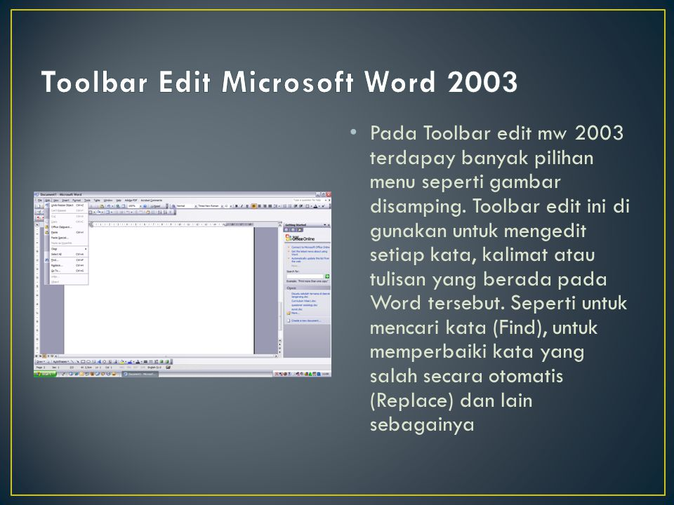 Toolbar Edit Microsoft Word 2003