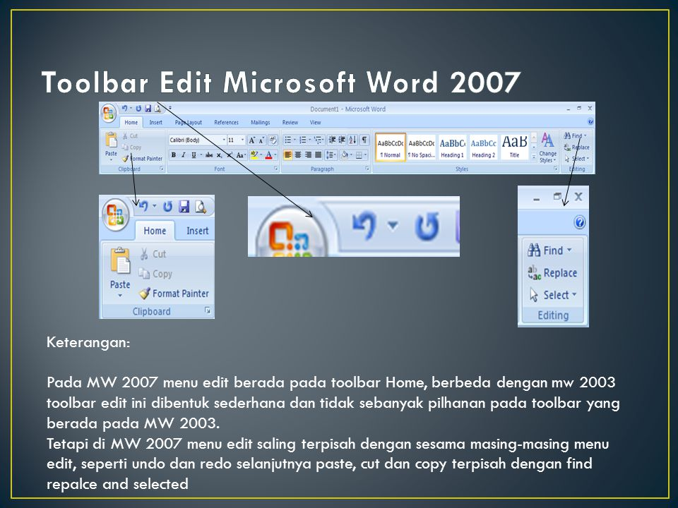 Toolbar Edit Microsoft Word 2007