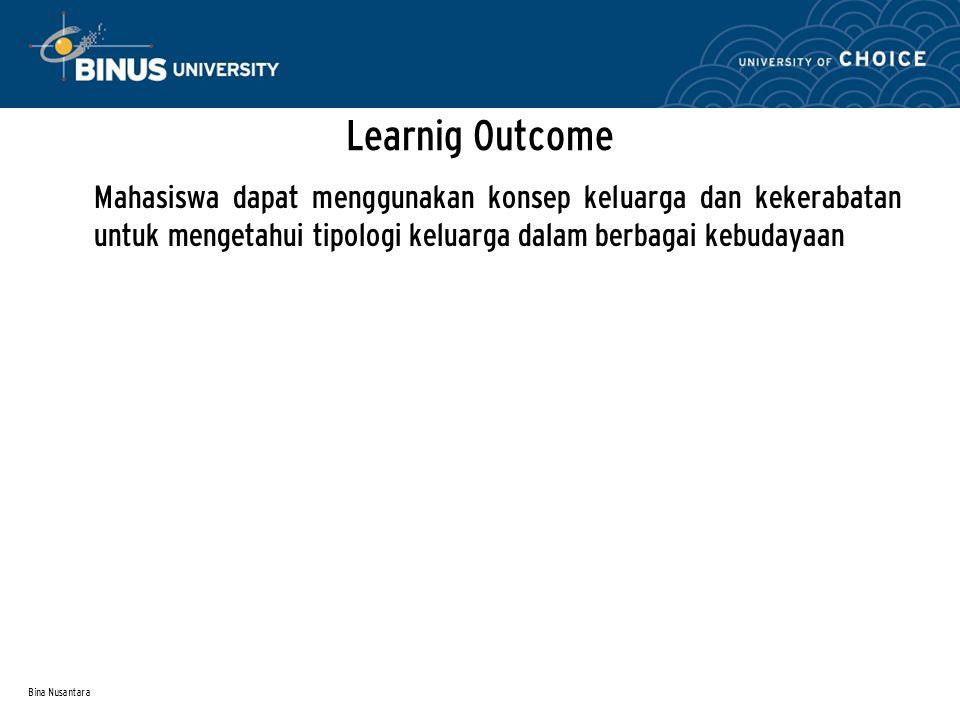 Learnig Outcome Mahasiswa dapat menggunakan konsep keluarga dan kekerabatan untuk mengetahui tipologi keluarga dalam berbagai kebudayaan.