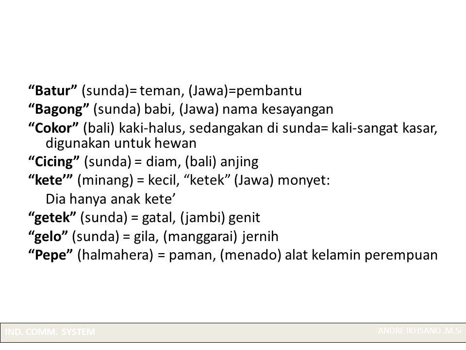 Batur (sunda)= teman, (Jawa)=pembantu