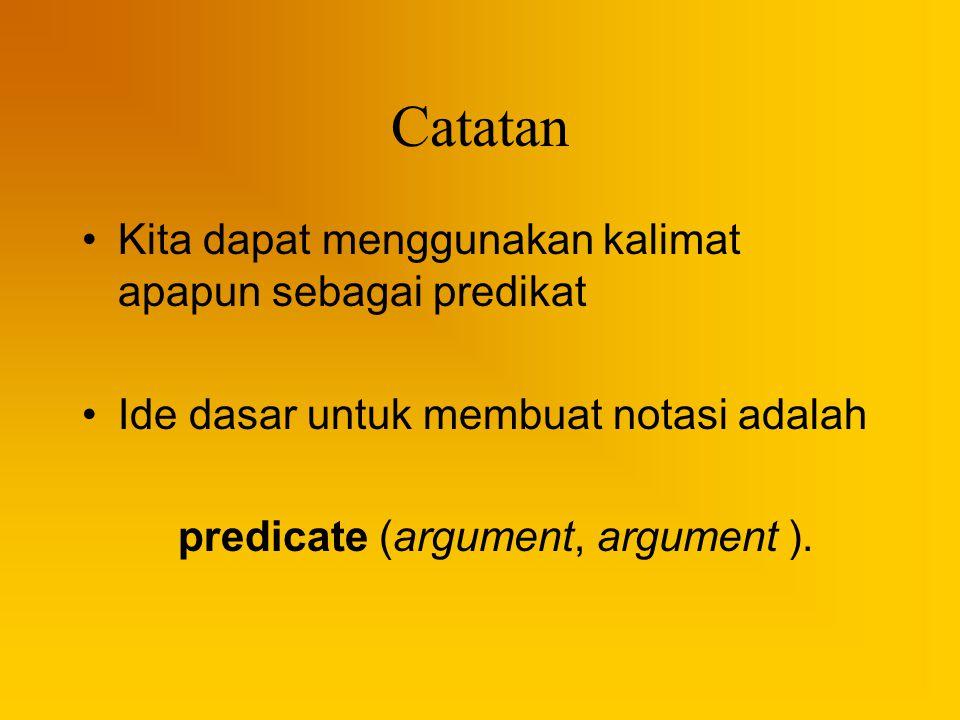 Catatan Kita dapat menggunakan kalimat apapun sebagai predikat