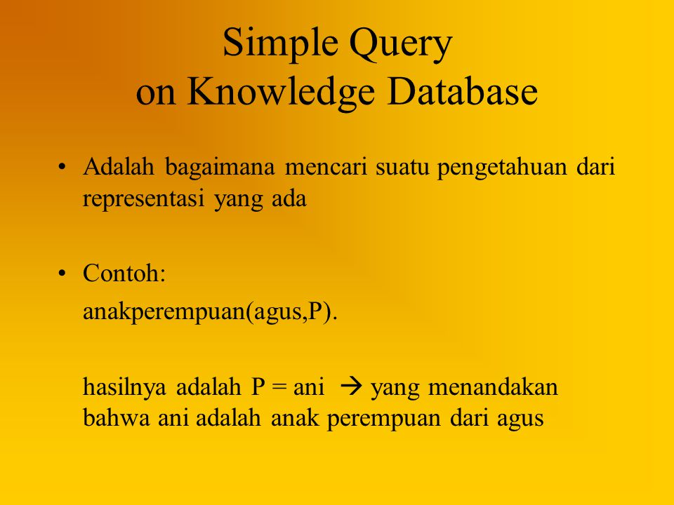 Simple Query on Knowledge Database