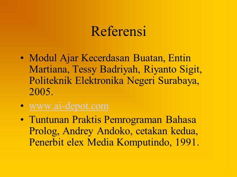 Referensi Modul Ajar Kecerdasan Buatan, Entin Martiana, Tessy Badriyah, Riyanto Sigit, Politeknik Elektronika Negeri Surabaya, 2005.