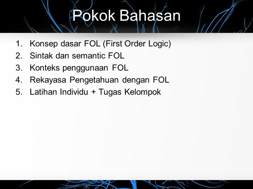 Pokok Bahasan Konsep dasar FOL (First Order Logic)