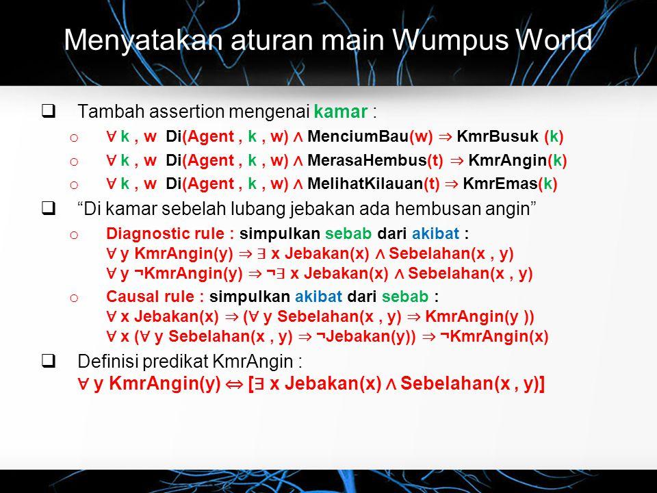 Menyatakan aturan main Wumpus World