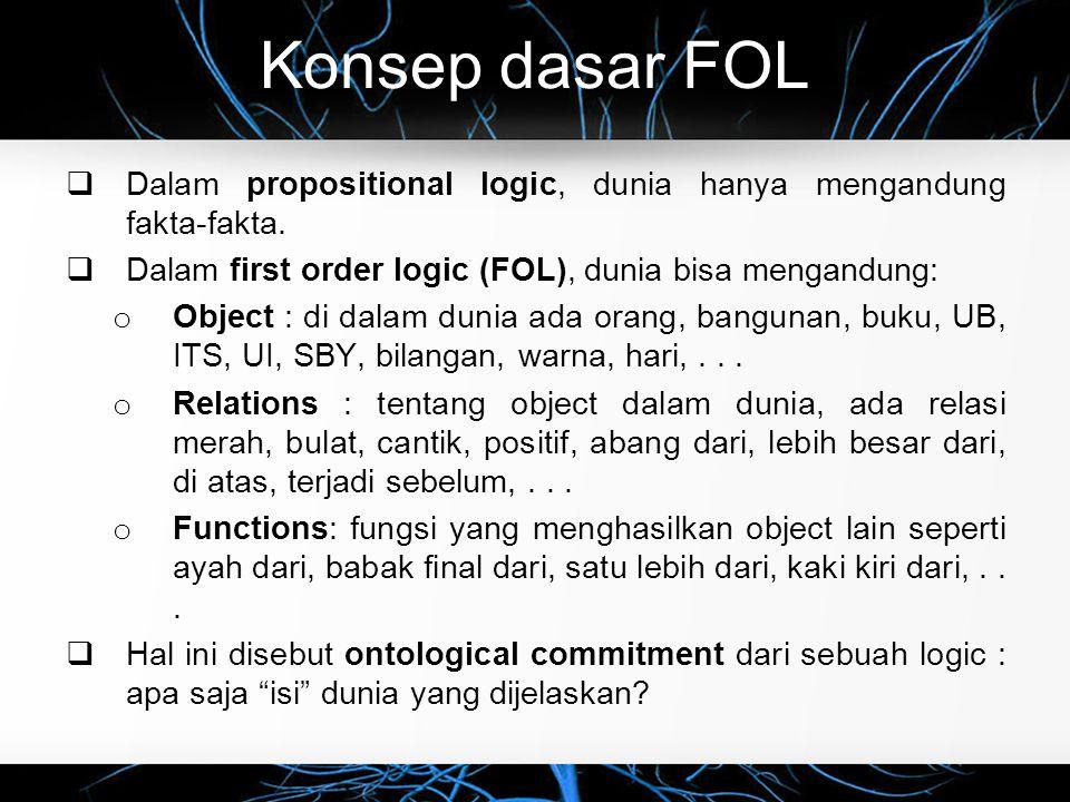 Konsep dasar FOL Dalam propositional logic, dunia hanya mengandung fakta-fakta. Dalam first order logic (FOL), dunia bisa mengandung: