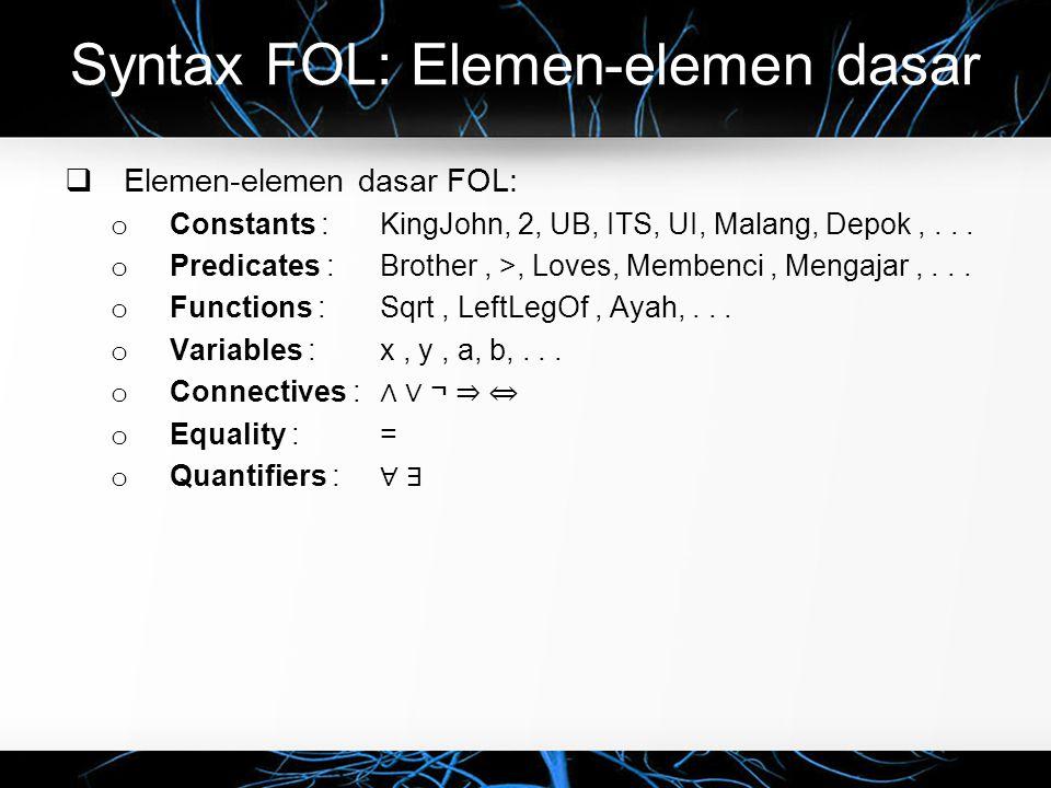 Syntax FOL: Elemen-elemen dasar