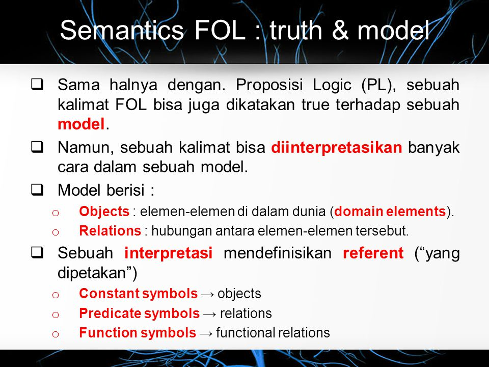 Semantics FOL : truth & model