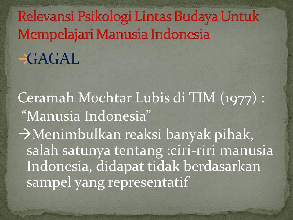 Relevansi Psikologi Lintas Budaya Untuk Mempelajari Manusia Indonesia