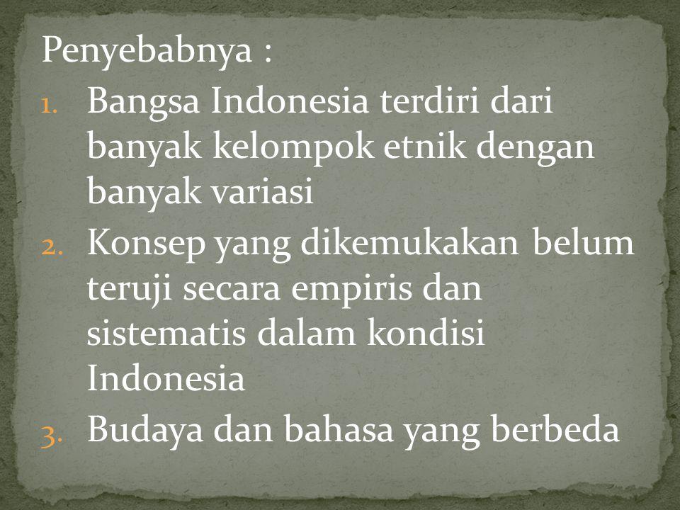 Penyebabnya : Bangsa Indonesia terdiri dari banyak kelompok etnik dengan banyak variasi.