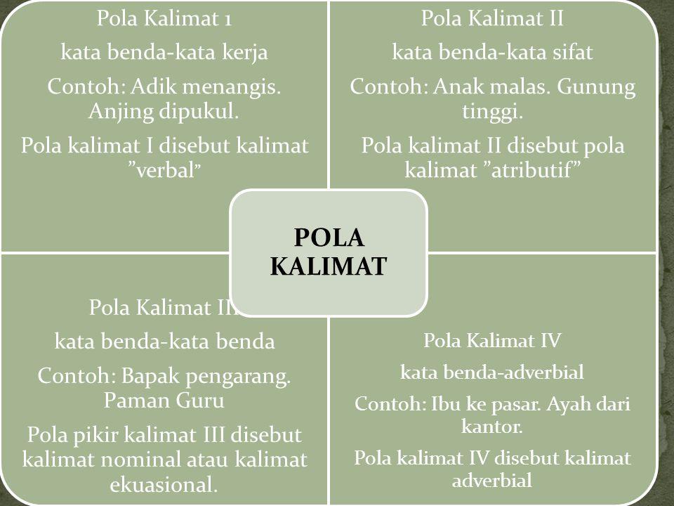 POLA KALIMAT Pola Kalimat III Pola Kalimat 1 Pola Kalimat II