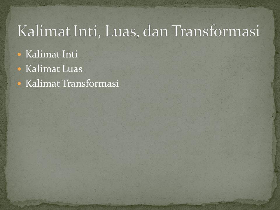 Kalimat Inti, Luas, dan Transformasi