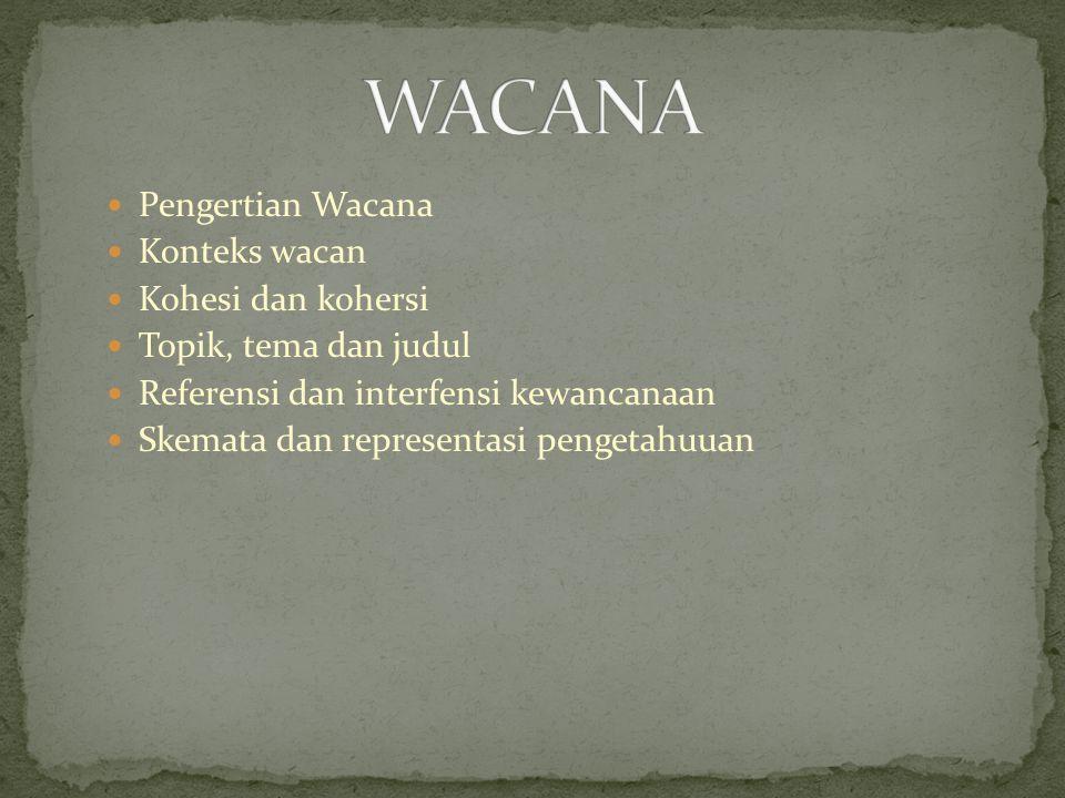 WACANA Pengertian Wacana Konteks wacan Kohesi dan kohersi