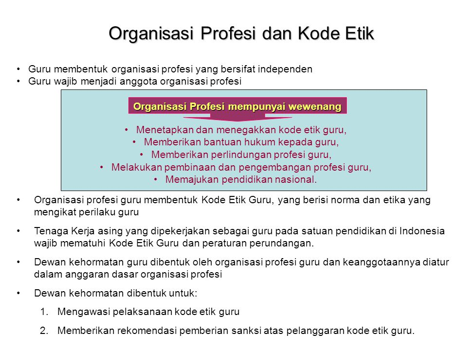 Organisasi Profesi dan Kode Etik