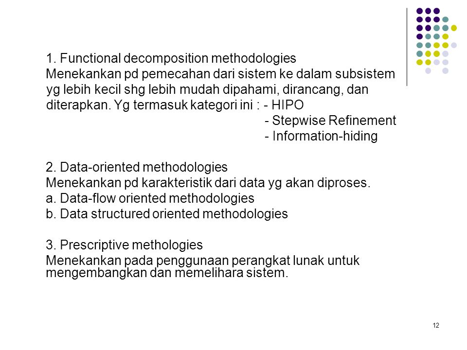 1. Functional decomposition methodologies
