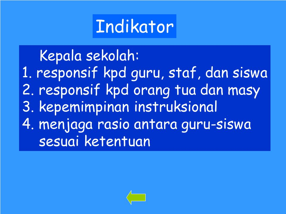 Indikator Kepala sekolah: 1. responsif kpd guru, staf, dan siswa