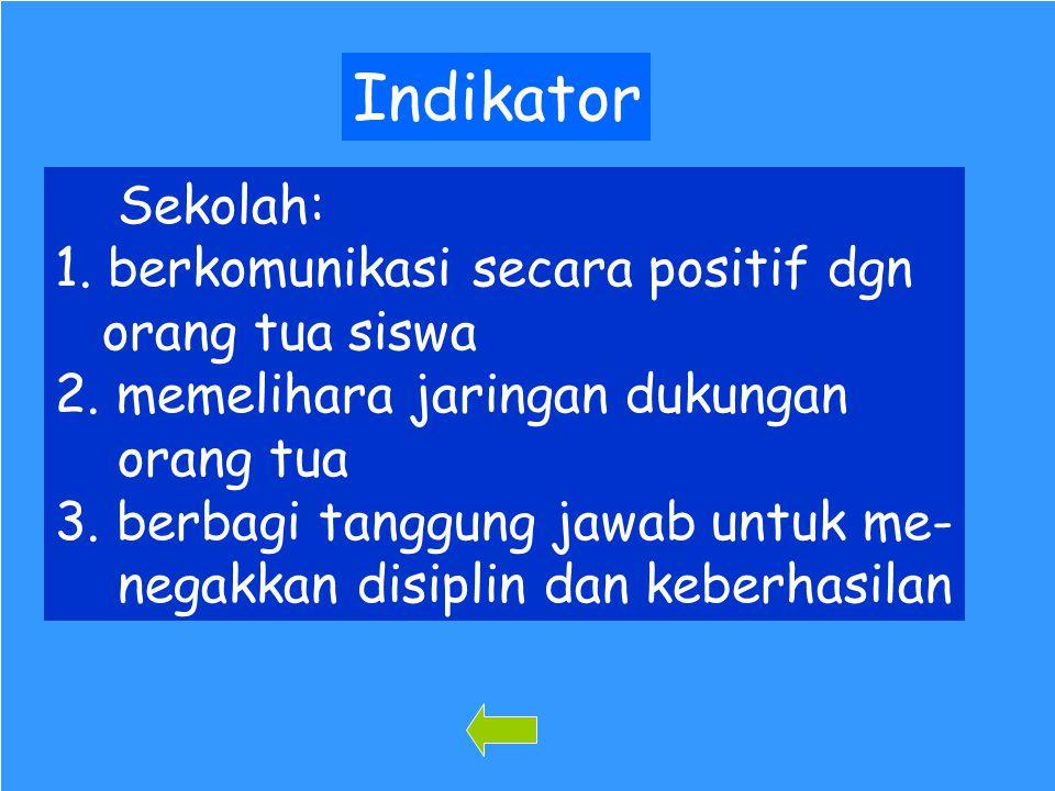 Indikator Sekolah: 1. berkomunikasi secara positif dgn orang tua siswa