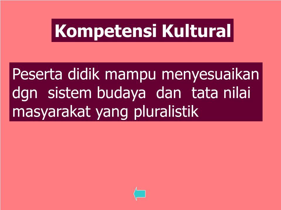 Kompetensi Kultural Peserta didik mampu menyesuaikan