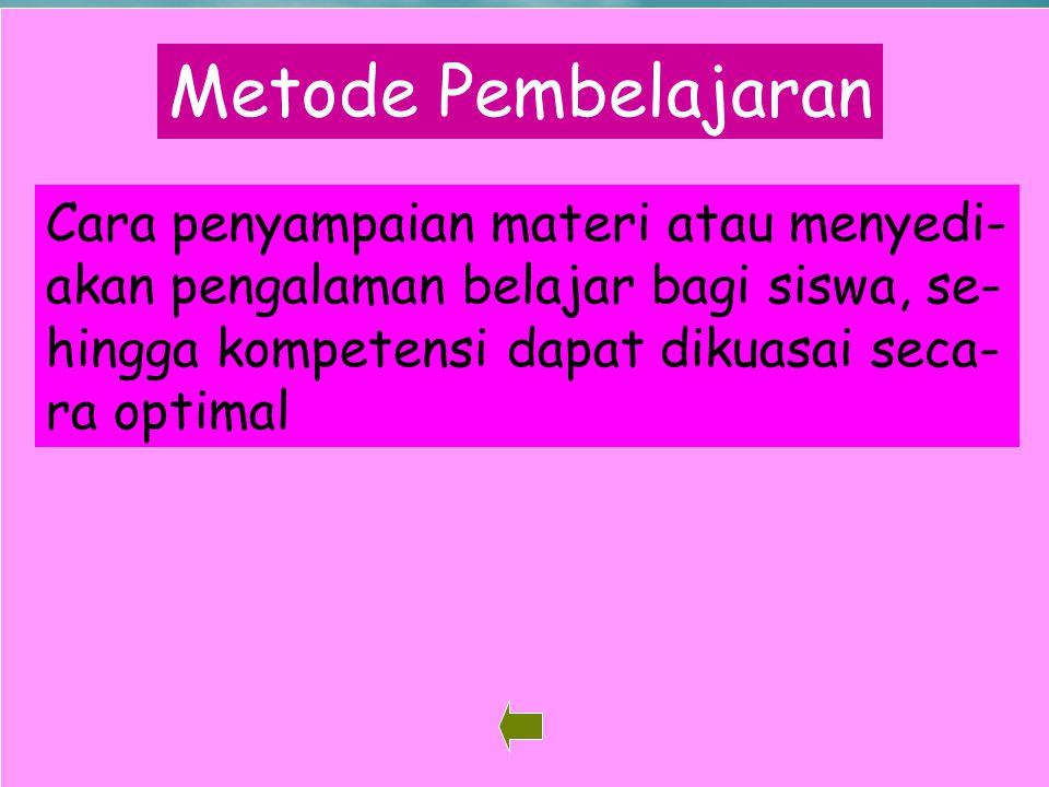 Metode Pembelajaran Cara penyampaian materi atau menyedi-