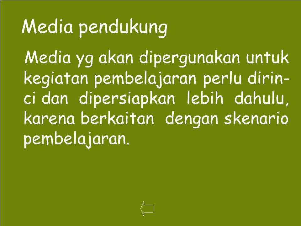 Media pendukung Media yg akan dipergunakan untuk