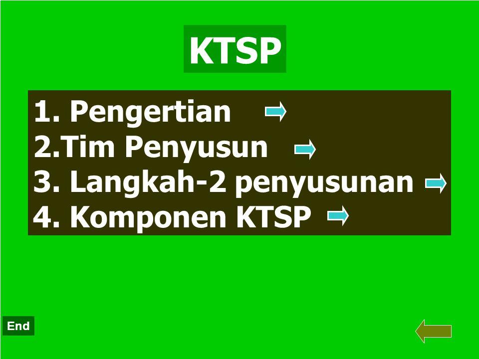 KTSP Pengertian Tim Penyusun Langkah-2 penyusunan Komponen KTSP End